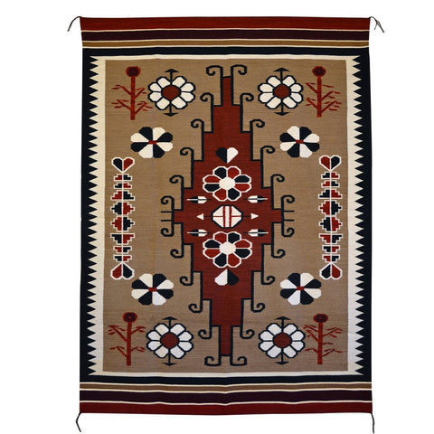 Bistie American Indian Rug with brown, black and red wool colors