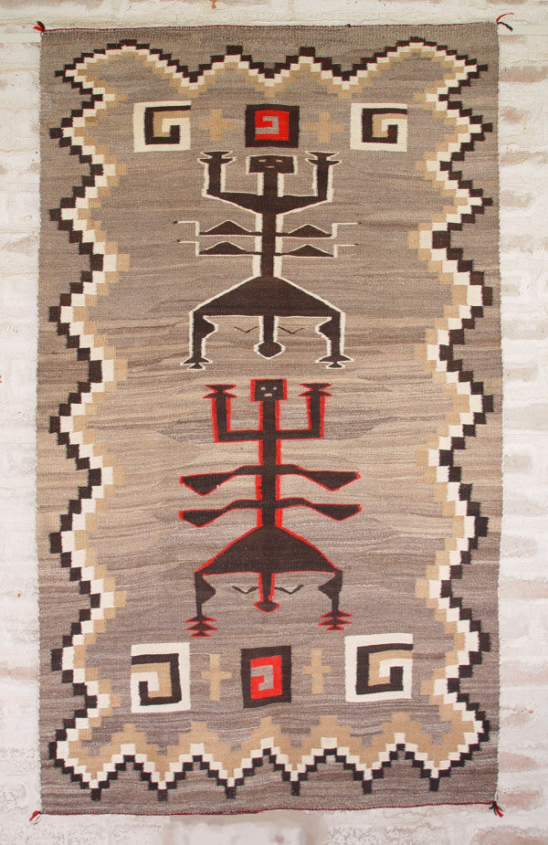 Antique Navajo Weaving : Dragon Fly Yei Pictorial: c 1920's-30's : GHT 2086