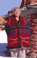 Master Weaver: Julia Upshaw displays her lovely weaving find this and more in our Exclusive Navajo Churro Collection