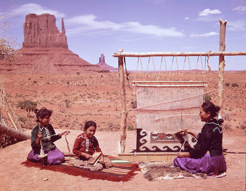 Mother and children Navajo weaving rug