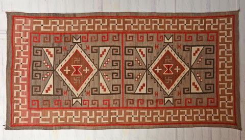 crystal antique rug with whirling logs