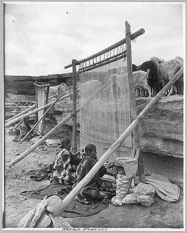 Navajo Weavers at loom