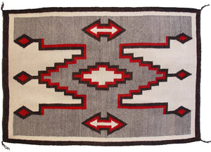 "Crystal / Storm Pattern Navajo Weaving : Historic : GHT 1011 : 42"" x 62"""