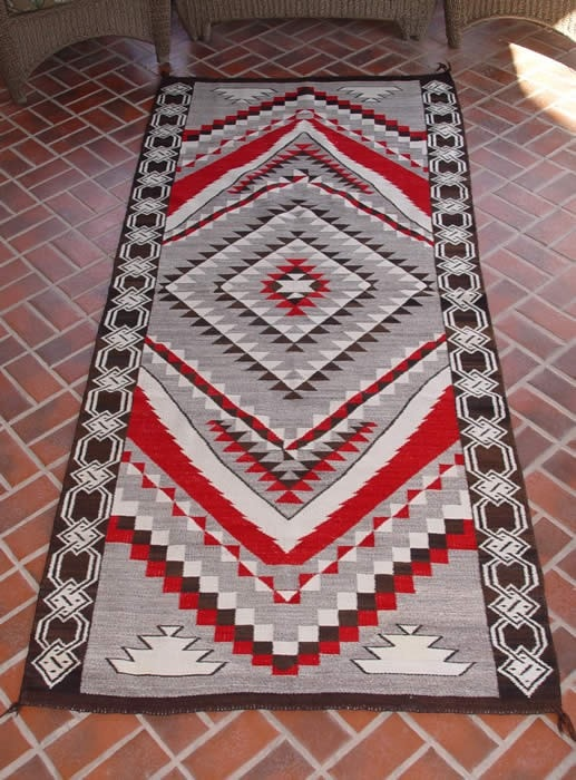 "Crystal / Chinle Navajo Weaving : Historic : GHT 1081 : 3'9"" x 8'8"""