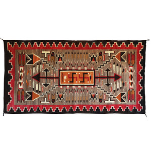 Storm Pattern / Sandpainting Yei Pictorial Navajo Weaving : Historic : GHT 2212: 50″ x 99″ - Getzwiller's Nizhoni Ranch Gallery