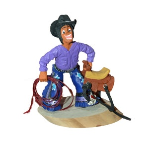 Koshare Cowboy Wood Carving : Virgil Wood - Getzwiller's Nizhoni Ranch Gallery