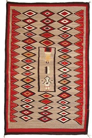 "Yei - Hero Twin Pictorial Navajo Weaving : Historic : GHT 1936 : 52"" x 82"" - Getzwiller's Nizhoni Ranch Gallery"