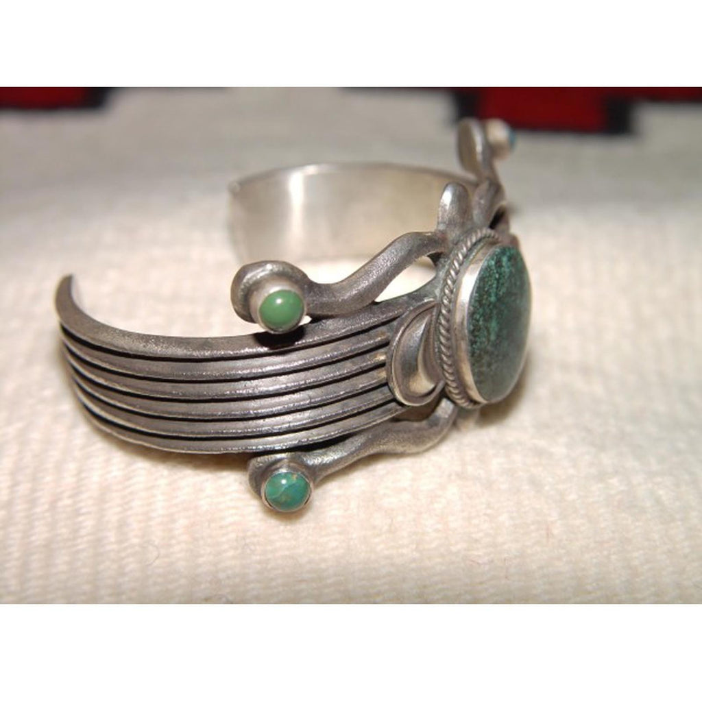 Native American Jewelry : Navajo : Green Turquoise and Silver Bracelet : Martha Cayatineto : NAJ-17 - Getzwiller's Nizhoni Ranch Gallery