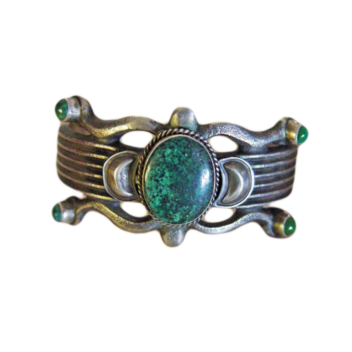Native American Jewelry : Navajo : Green Turquoise and Silver Bracelet : Martha Cayatineto : NAJ-17