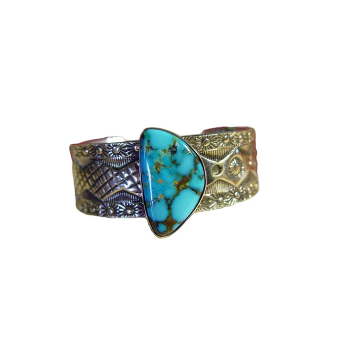 Native American Jewelry : Navajo : Carico Lake Turquoise Bracelet - Silver With Gold Overlay : Marc Antia : NAJ-20z