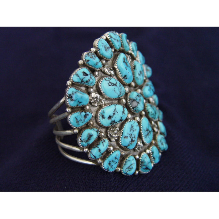 Native American Jewelry : Navajo : Silver And Turquoise Cuff Bracelet : NAJ-3
