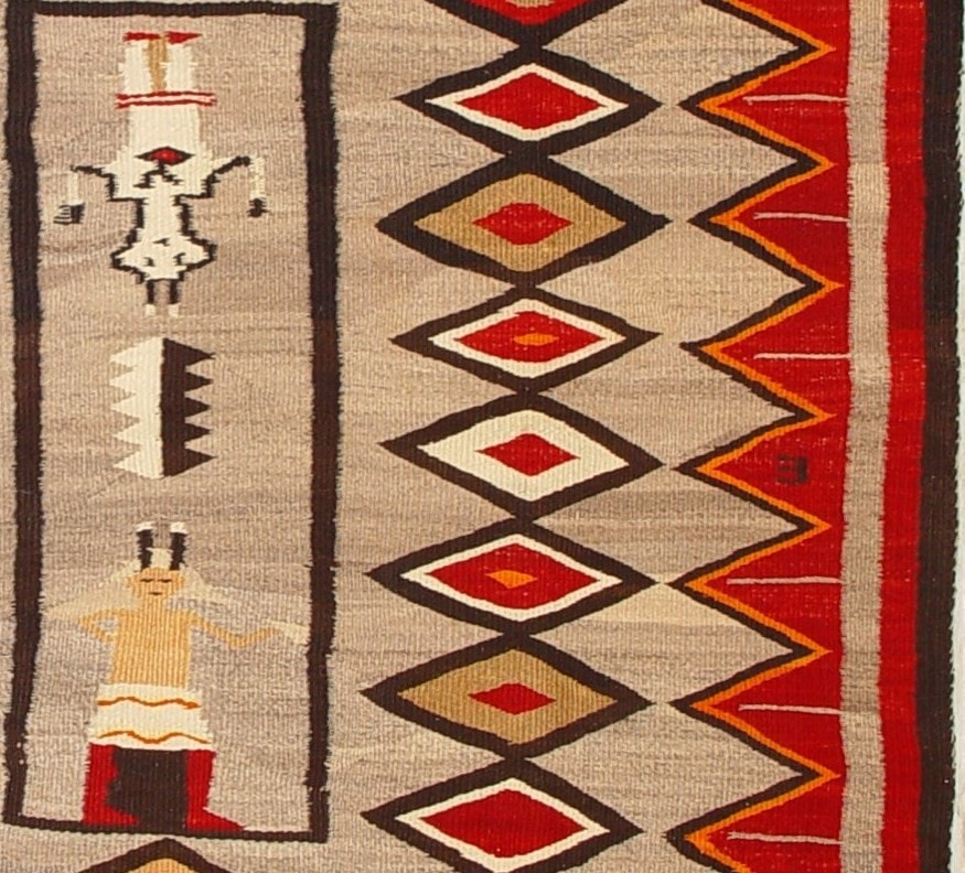 Yei - Hero Twin Pictorial Navajo Weaving : Historic : GHT 1936 - Getzwiller's Nizhoni Ranch Gallery