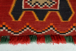 "Teec Nos Pos Navajo Fancy Single Saddle Blanket : Historic : GHT 1964 : 46"" x 28"" - Getzwiller's Nizhoni Ranch Gallery"