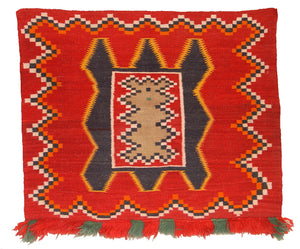 Antique Fancy Teec Nos Pos Navajo Single Saddle Blanket red with green germantown fringe