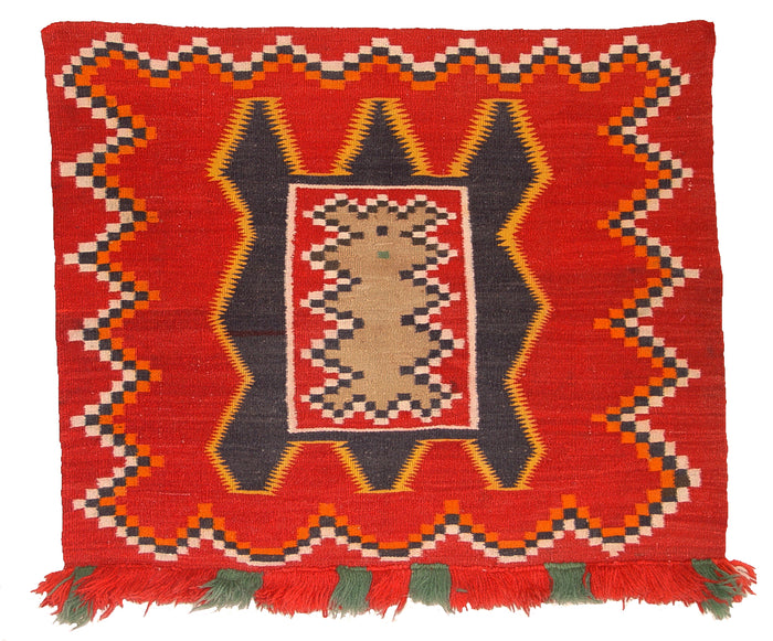 "Teec Nos Pos Navajo Fancy Single Saddle Blanket : Historic : GHT 1964 : 46"" x 28"""