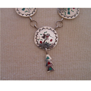 Native American Jewelry : Zuni Hummingbird & Blue Jay Inlay Necklace : Raymond Boyd : NAJ-N5 - Getzwiller's Nizhoni Ranch Gallery