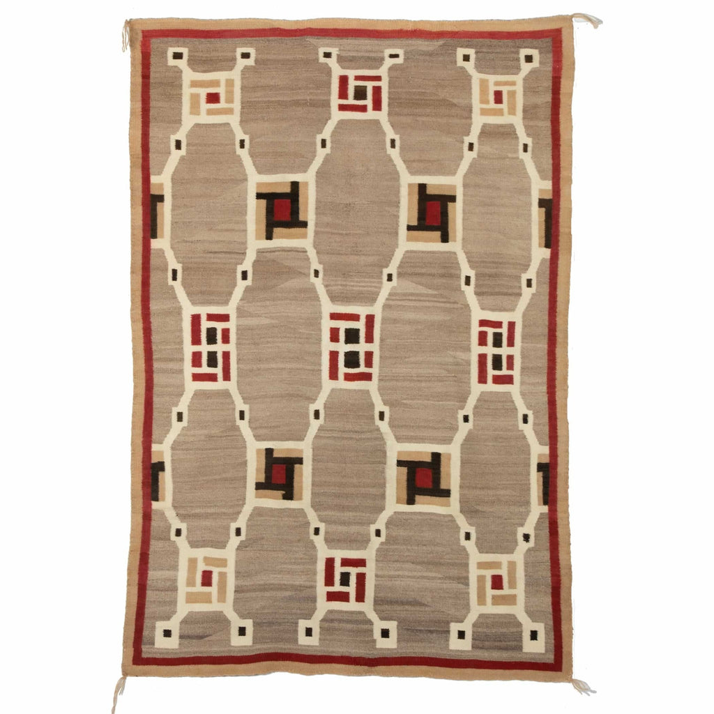 "Crystal - Optical Navajo Rug Weaving : Historic : PC 48 : 43"" x 63"" - Getzwiller's Nizhoni Ranch Gallery"