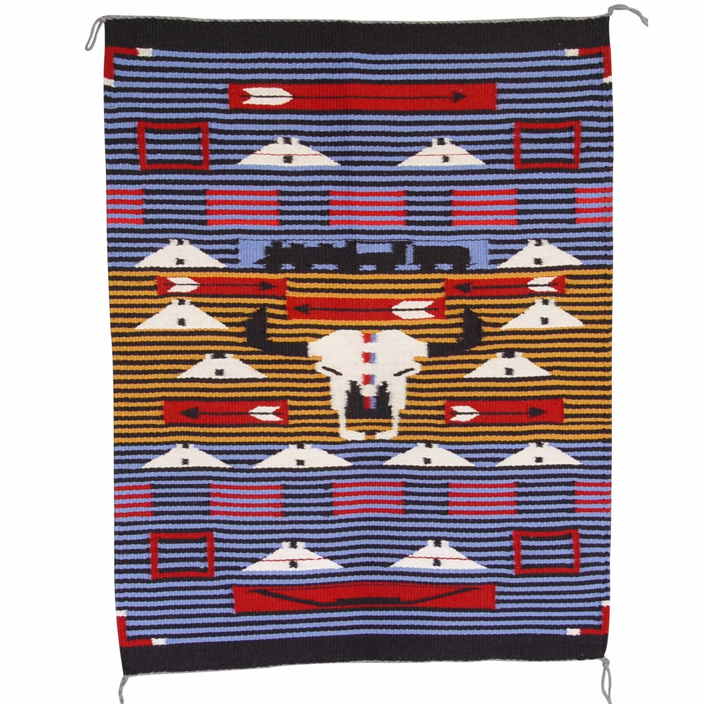 American Indian Moki style rug with narrow stripes, cow skull, bows, arrows and a locomotive