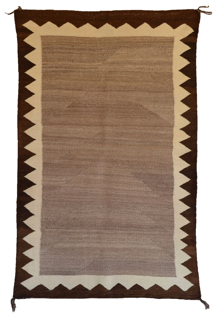 Double Navajo Saddle Blanket brown with black border and mountains
