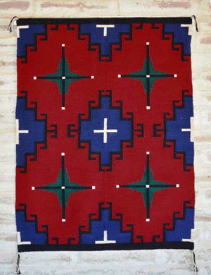 "Germantown Style Navajo Weaving : Nellie Dean : 2093 : 33"" x 48"" - Getzwiller's Nizhoni Ranch Gallery"