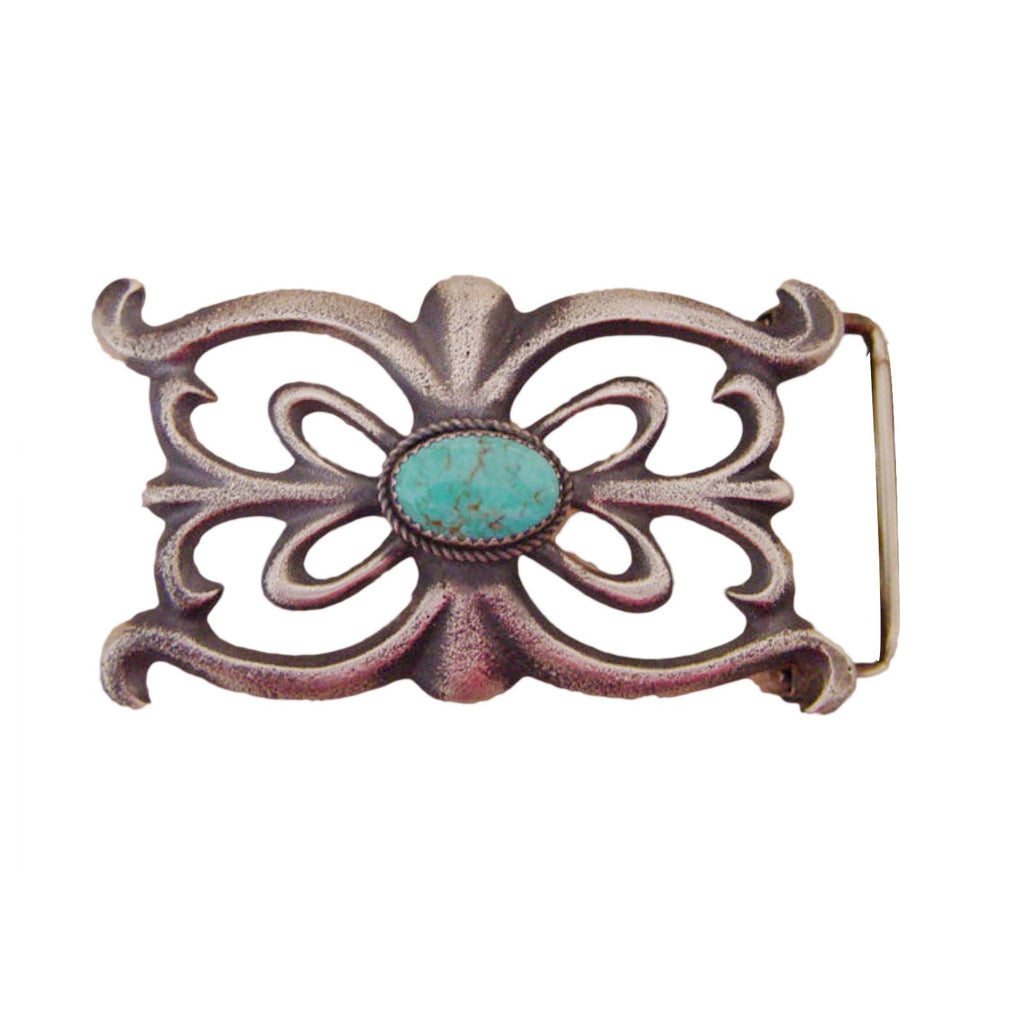 Jewelry : Kingman Turquoise and Sterling Silver Navajo Belt Buckle : Martha Cayatineto