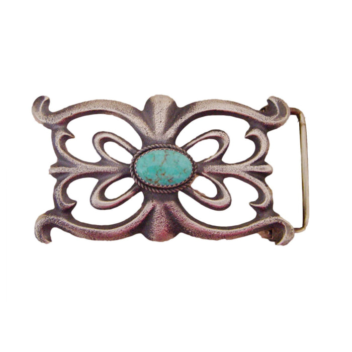 Native American Jewelry : Navajo : Kingman Turquoise and Sterling Silver Navajo Belt Buckle : Martha Cayatineto
