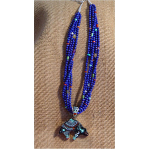 Native American Jewelry : Navajo : Necklace - Lapis beads, Night Sky Bear pendant : Ervin P Tsosie : NAJ-N17 - Getzwiller's Nizhoni Ranch Gallery