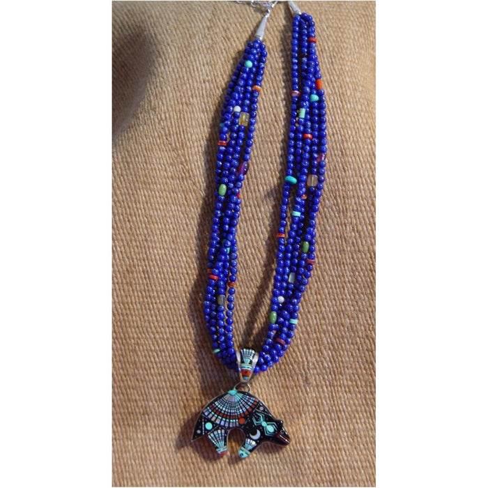 Native American Jewelry : Navajo : Necklace - Lapis beads, Night Sky Bear pendant : Ervin P Tsosie : NAJ-N17