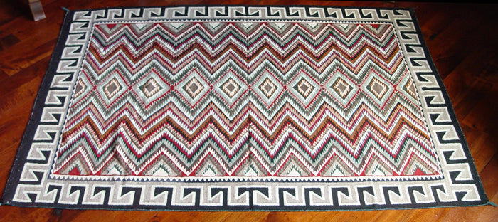 "Red Mesa / Teec Nos Pos Navajo Weaving : Historic : GHT 214 : 54"" x 74"""