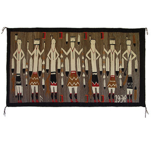 Yei Foxtail Navajo Weaving : Historic : GHT 2168 : 76″ x 43″ - Getzwiller's Nizhoni Ranch Gallery