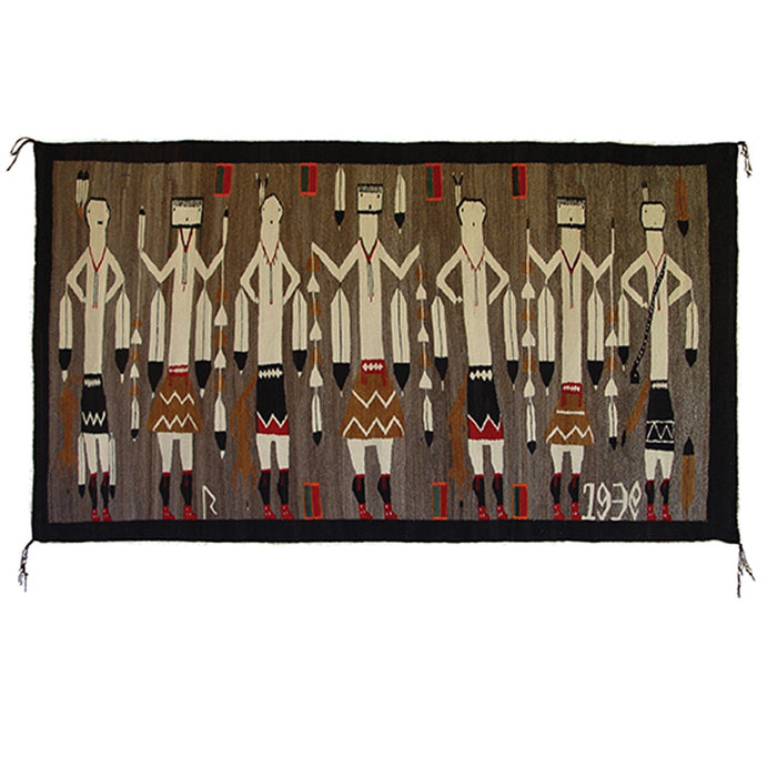 Yei Foxtail Navajo Weaving : Historic : GHT 2168 : 76″ x 43″