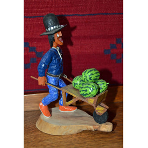 SOLD Koshare Farmer Wood Carving : Virgil Wood - Getzwiller's Nizhoni Ranch Gallery