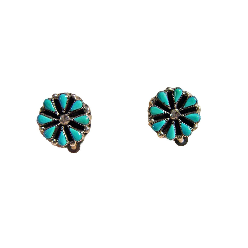 Jewelry : Turquoise And Sterling Silver Clip-On Earrings : NAJ-9E - Getzwiller's Nizhoni Ranch Gallery