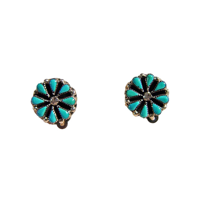 SOLD Native American Jewelry : Turquoise And Sterling Silver Clip-On Earrings : NAJ-9E