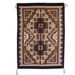 Two Grey Hills Navajo Weaving : Zerena Begay : 3148