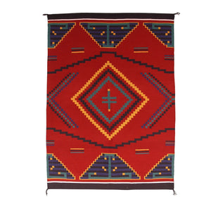 "Germantown Style Navajo Weaving : Vina Nakai : 3172 : 39"" x 54"" - Getzwiller's Nizhoni Ranch Gallery"