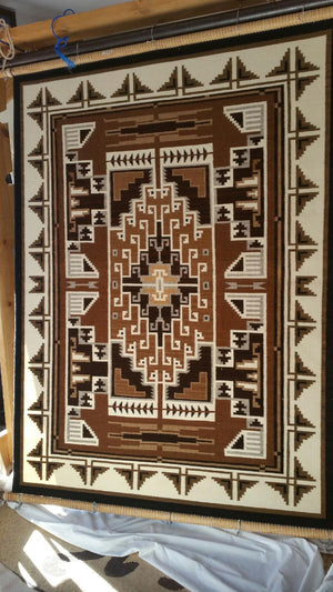 Two Grey Hills Navajo Weaving : Elsie Bia : Churro 1552