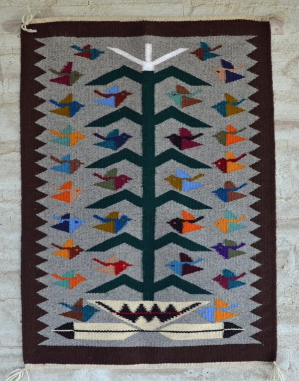 Tree of Life Navajo Weaving : Nora Bitah : 3267-MH - Getzwiller's Nizhoni Ranch Gallery