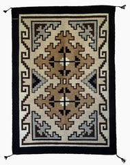 HOLD Two Grey Hills Navajo Rug Weaving : Contemporary : 3276 SG