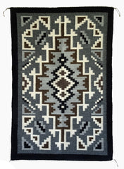 Two Grey Hills Navajo Rug Weaving : Contemporary : 3277 SG