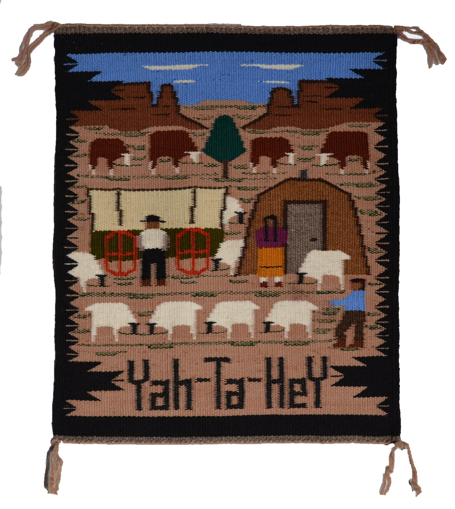 Pictorial Navajo Weaving of Many Farms