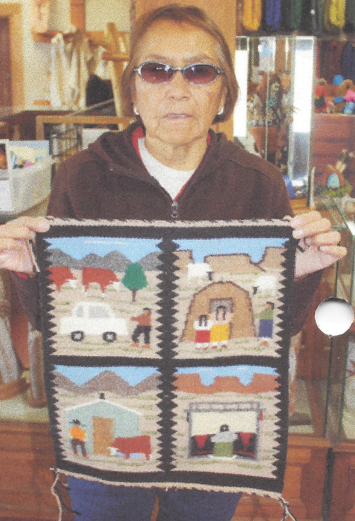 4 in 1 Pictorial Navajo Weaving : Ella Begay : 3328 - Getzwiller's Nizhoni Ranch Gallery