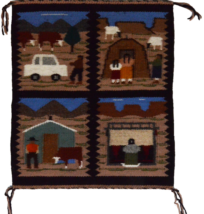 4 in 1 Pictorial Navajo Weaving : Ella Begay : 3328