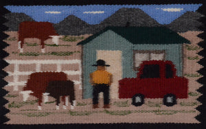 Native American Rug with two different Navajo Farm Scenes with people and hogans