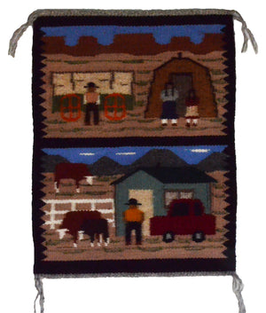 "Pictorial : American Indian Navajo Rug : Ella Begay : 3329 : 1'3"" x 1'5"" - Getzwiller's Nizhoni Ranch Gallery"