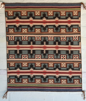 "Wide Ruin Navajo Weaving : Lillian Joe : 3374 : 27"" x 32"" - Getzwiller's Nizhoni Ranch Gallery"