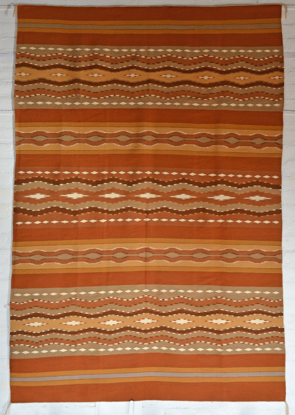 "Wide Ruins Navajo Weaving : Mary Yellowhorse : 3376 : 72"" x 104"" - Getzwiller's Nizhoni Ranch Gallery"