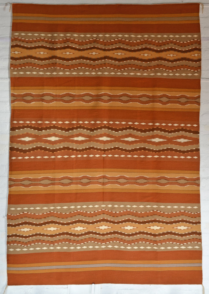 "SOLD Wide Ruins Navajo Weaving : Mary Yellowhorse : 3376 : 72"" x 104"""