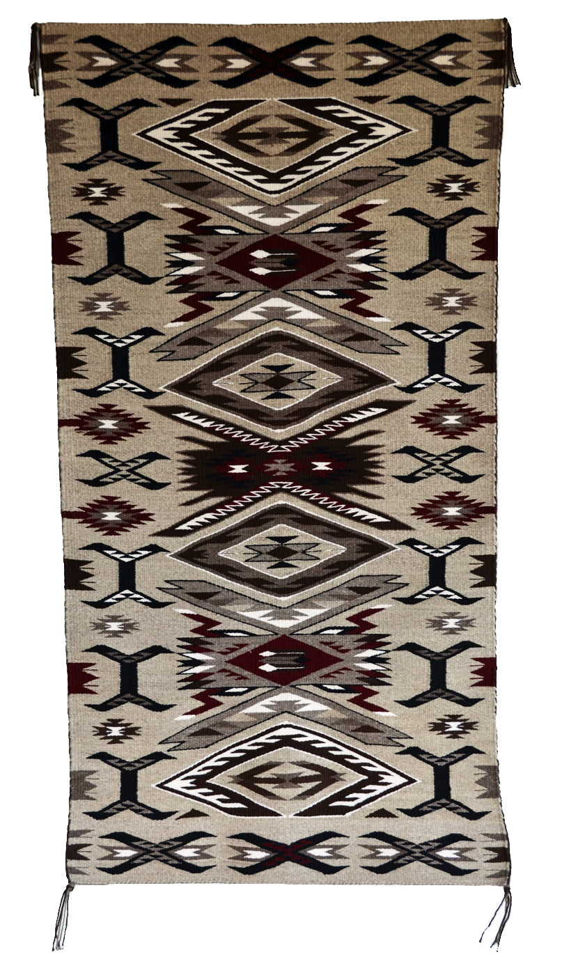 "Innovative Storm Pattern Navajo Rug : Gabrielle Chester : 3389 : 25"" x 48"" - Getzwiller's Nizhoni Ranch Gallery"