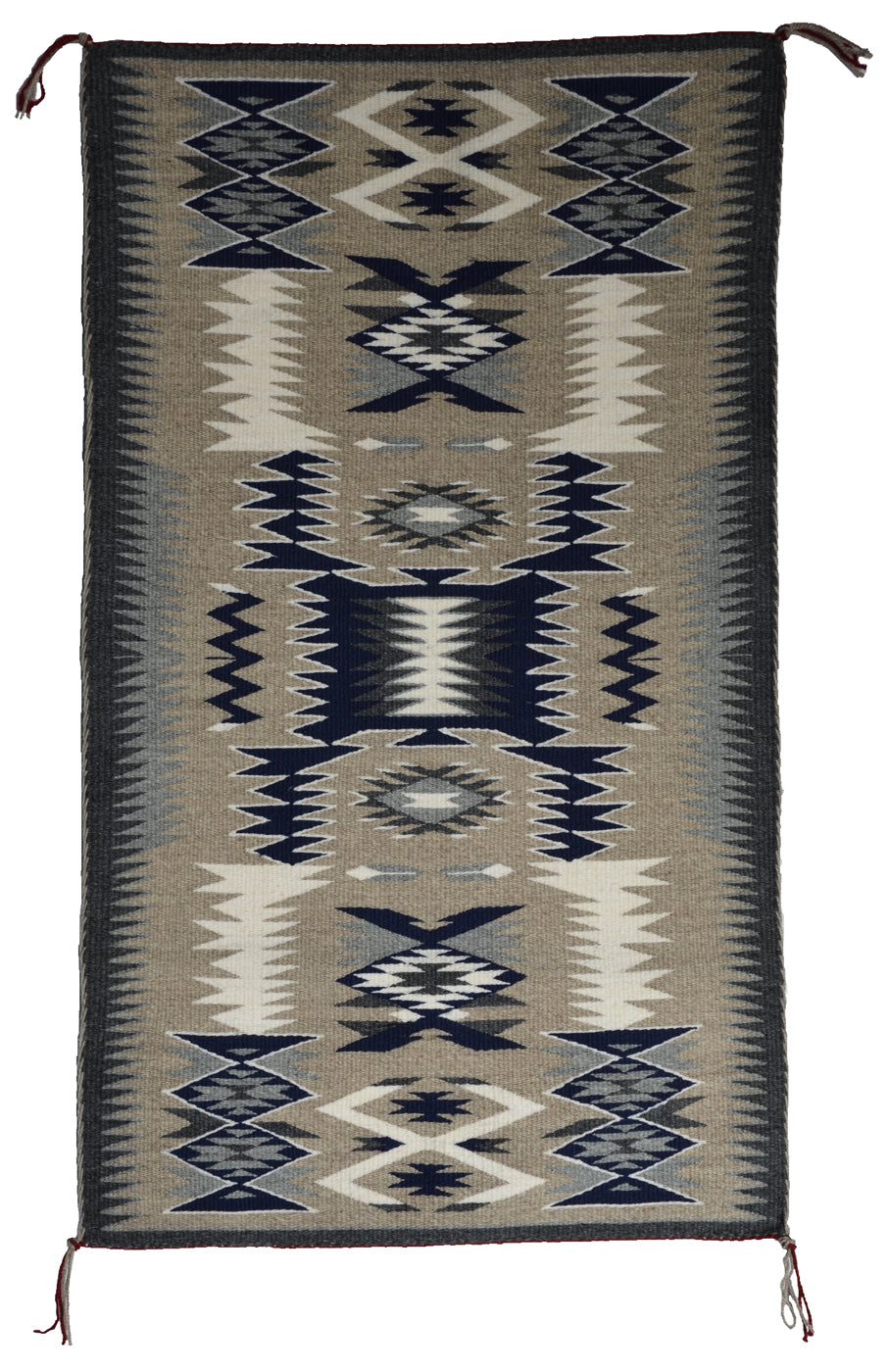 "SOLD - Storm Pattern Navajo Rug : Gabrielle Chester : 3398 : 35.5"" x 20.5"" - Getzwiller's Nizhoni Ranch Gallery"